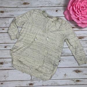 LOFT Ivory Charcoal Tassel Knit Rounded Hem Tunic
